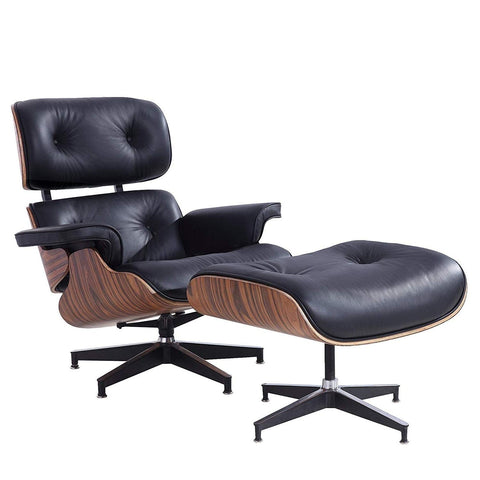 Eames Lounge Chair with Ottoman, Mid Century Palisander Chair, 100% Grain Italian Leather Living Room Recliner with Heavy Duty Base Support (Black)