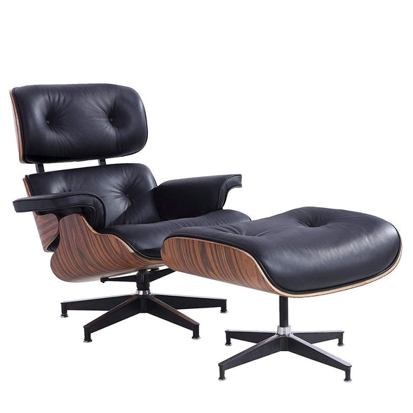 Mid Century Modern Lounge Chair with Ottoman, Eames Lounge Chair - High Grade Leather - White Solid Wood Lounge Chair