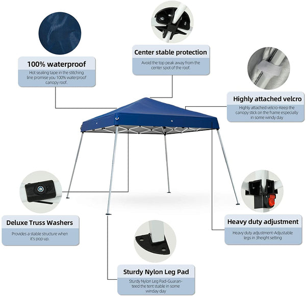 Mecor Outdoor Pop Up Canopy Tent Waterproof Gazebo with Carrying Bag Height Adjustable Tent for Party,Wedding(12'x12')