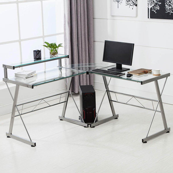 L Shape Tempered Glass Computer Desk w/Keyboard Tray & CPU Stand-Corner Laptop PC Table Workstation Home Office Furniture