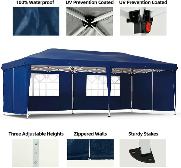 Mecor Outdoor Pop Up Canopy Tent Heavy Duty Gazebo with 6 Removable Sidewalls Height Adjustable Tent for Party,Wedding(10'x20',6 sidewalls,Blue)