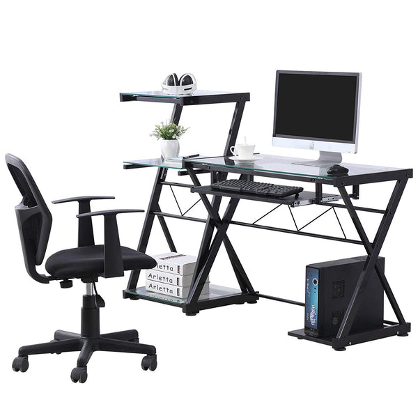 Glass Computer Desk Laptop Table Metal X-Frame Corner Workstation with Keyboard Tray, Home Office Furniture (Clear&Black)