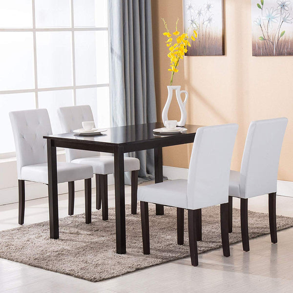 Mecor Dining Chairs Kitchen Leather Chairs Tufted Backrest with Solid Wood Legs Set of 4, White