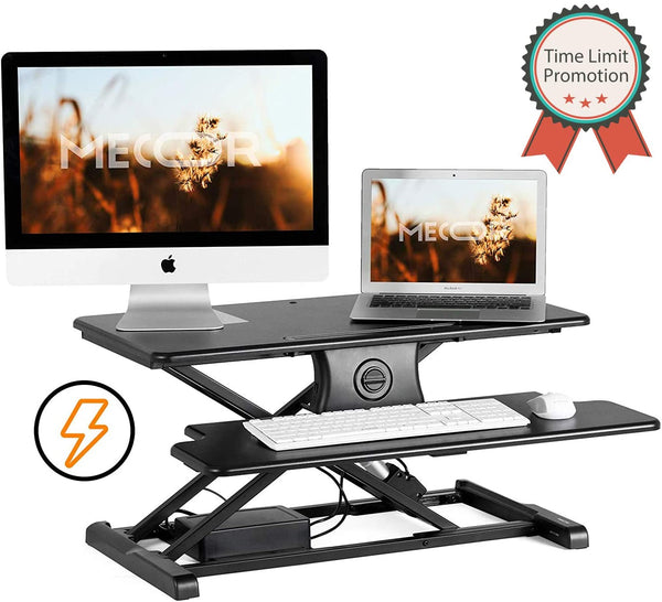 "Mecor Electric Height Adjustable Standing Desk Converter Stand up Power Riser 32"" Black Tabletop Workstation fits Dual Monitor"