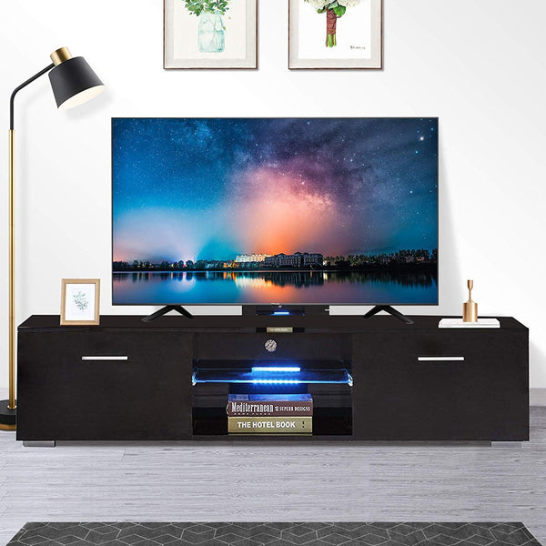 "High Gloss TV Stand, 63"" TV Unit with LED Lights Console Storage Cabinet with 2 Drawers for Living Room"