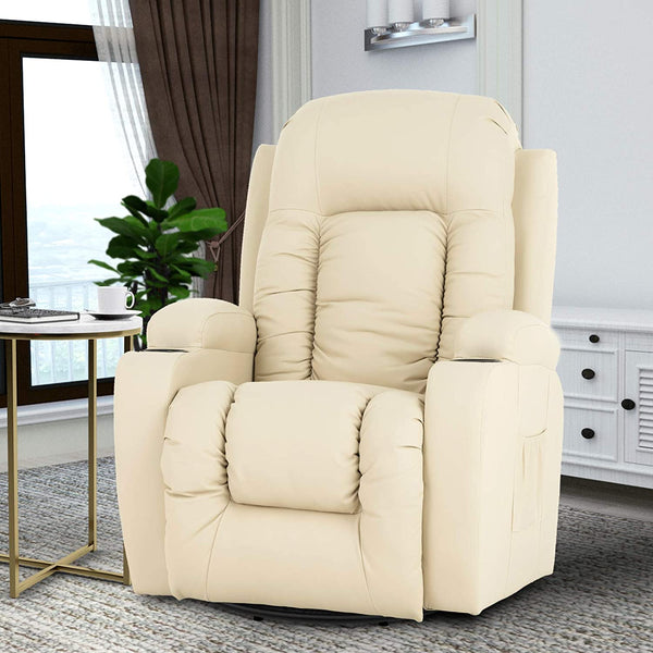 Mecor Massage Recliner Chair PU Leather Rocker  for Living Room-Beige