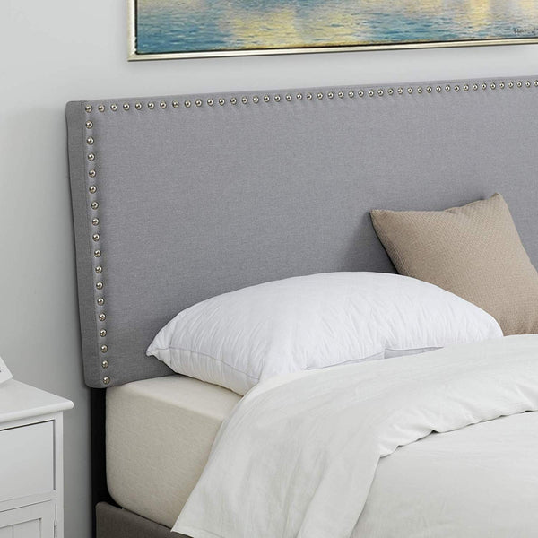 Mecor Upholstered Linen Twin Size Headboard with Decorative Nailhead Trim in Grey Fabric Adjustable Height