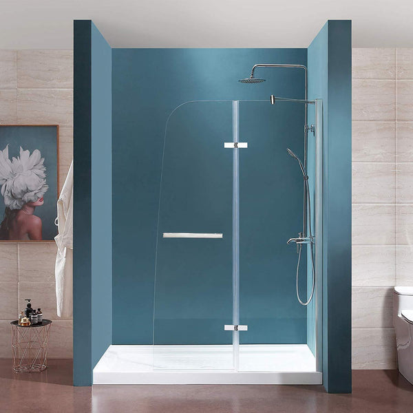 "Frameless Hinged Shower Door 44"" W x 72"" H1/4"" Clear Tempered Glass Door Chrome Finish"