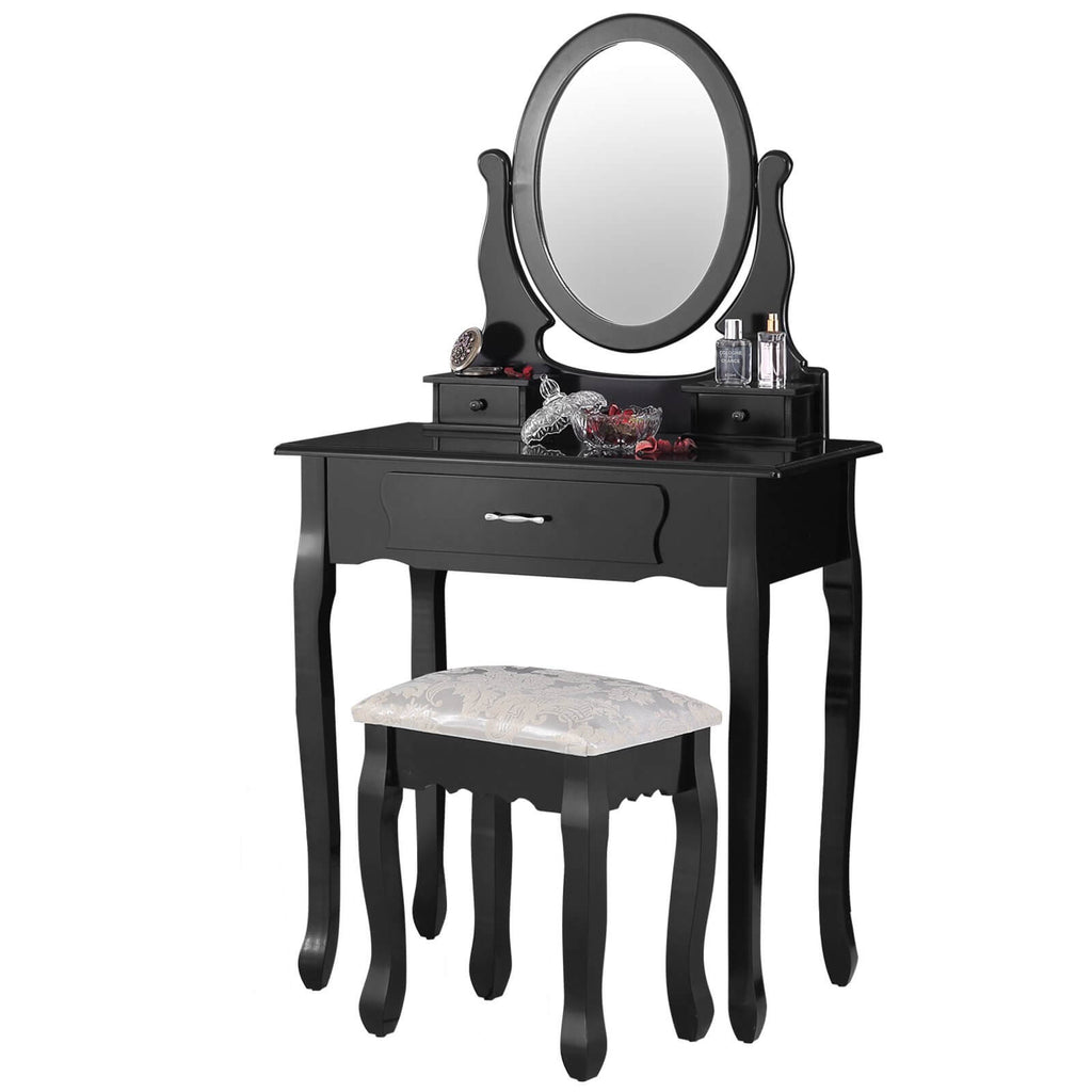 Makeup Vanity Sets with Oval Mirror, Wood Dressing Table w/Cushioned Stool, 3 Drawers Girls Women Bedroom Makeup Table