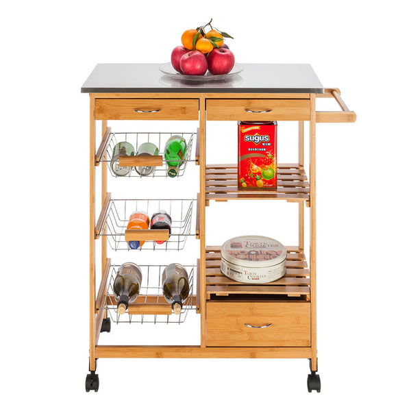 Movable Kitchen Island, Dining Cart with Stainless Steel Table Top & Three Drawers & Three Baskets Burlywood