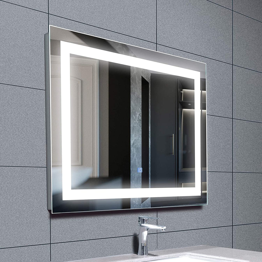 Mecor 28 x 36 inch LED Lighted Bathroom Mirror Silvered Wall Mounted Mirror with Touch Button, Anti Fog and IP44 Waterproof Hanging Rectangle Vertical&Horizontal Mirror