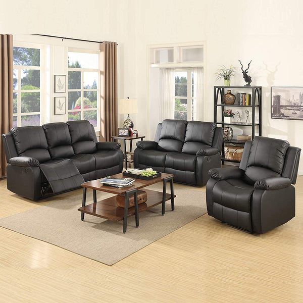Mecor 3 Piece Sofa Set Bonded Leather Motion Sofa Reclining Sofa Chair Living Room Furniture with 3-Seat Sofa, Loveseat and Recliner Chair, Black