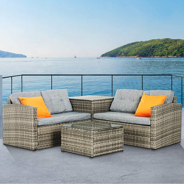 Mecor 4PC Patio Furniture Set, Wicker Outdoor Furniture Sectional Cushioned Sofa Set with Storage Box Glass Coffee Table with 2 Pillow (Grey)