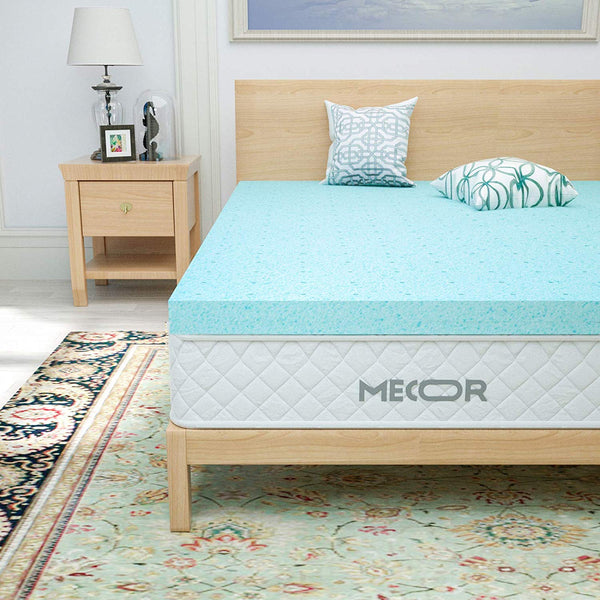 "mecor 2 Inch 2"" 100% Gel Infused Memory Foam Mattress Topper-Ventilated Design Pressure-Relieving Bed Topper w/CertiPUR-US Certified Foam, Blue"