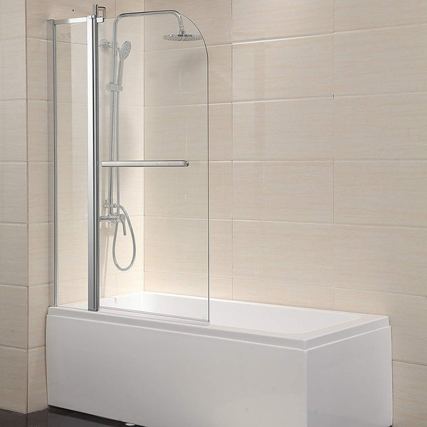 "Shower Door Hinged Frameless 1/4"" Clear Glass Bathtub Door Chrome Finish (55""X39"")"