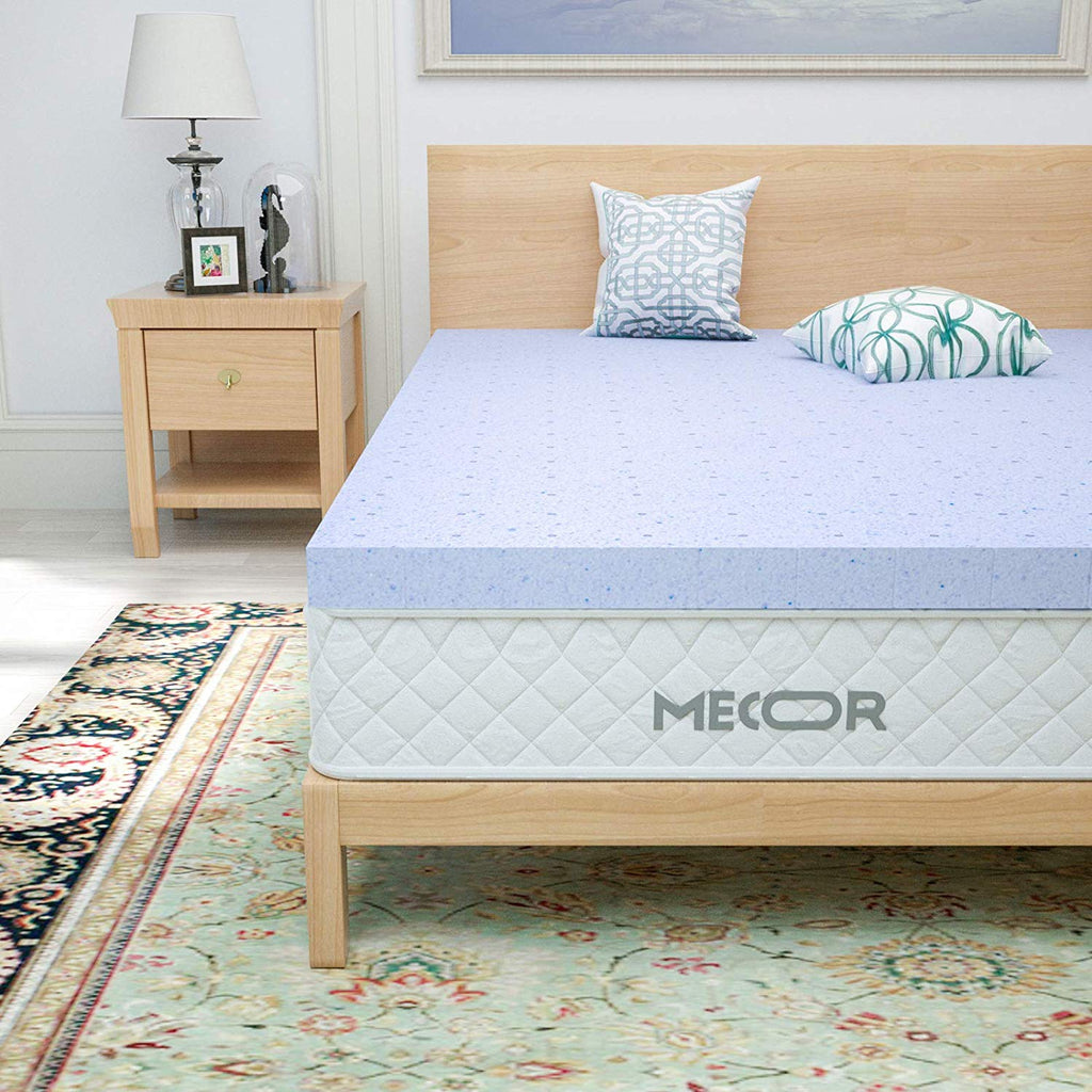 "Mecor 2 Inch 2"" Mattress Topper, Ventilated Gel Infused Memory Foam Mattress Topper with CertiPUR-US Certified, Purple"