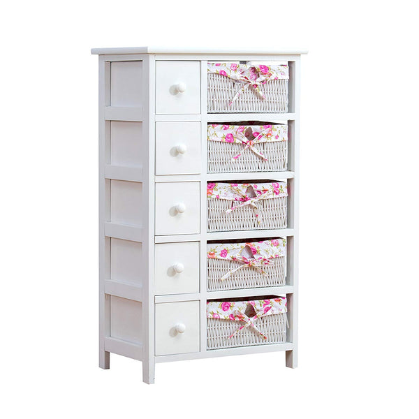 White Night Stand/Side Tables/End Tables Dresser Storage Tower - Paulownia Wood - Include 5 Drawers&5 Wicker Baskets Storage