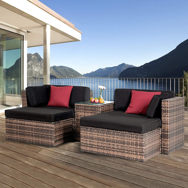 Mecor 5PC Patio Furniture Sets, Outdoor Wicker Furniture Sectional Cushioned Sofa Set with Glass Coffee Table with 2 Pillow (Brown)