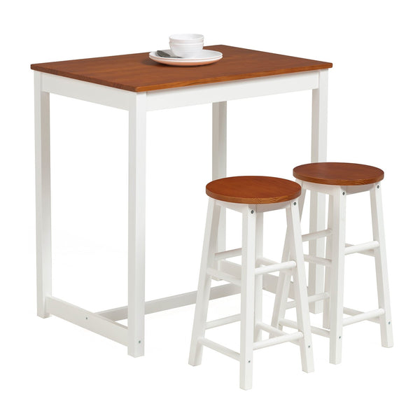 Mecor 3-Peice Pub Table Set, Wood Dining Table Set with 2 Counter Stools for Home Kitchen BreakfastFurniture (Natural)