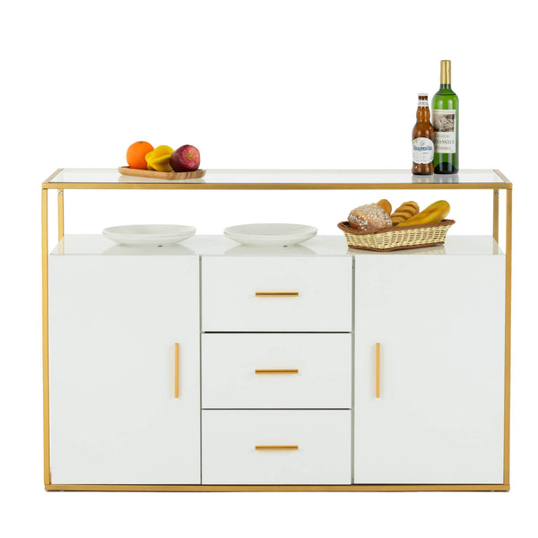 Mecor Kitchen Sideboard Cabinet, Tempered Glass Top Buffet Storage Cabinet with 3 Drawers, Kitchen Dining Room Furniture