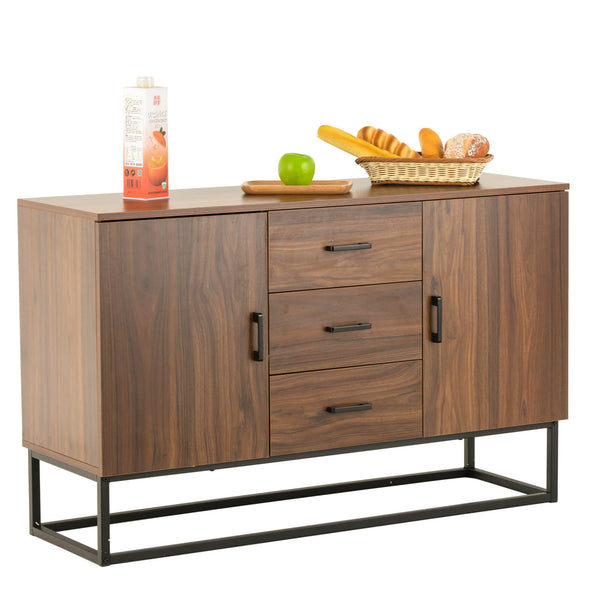 Mecor Modern Sideboard Storage Cabinet, Buffet Table Kitchen Storage with Three Storage Drawers Two Cabinets, Brown