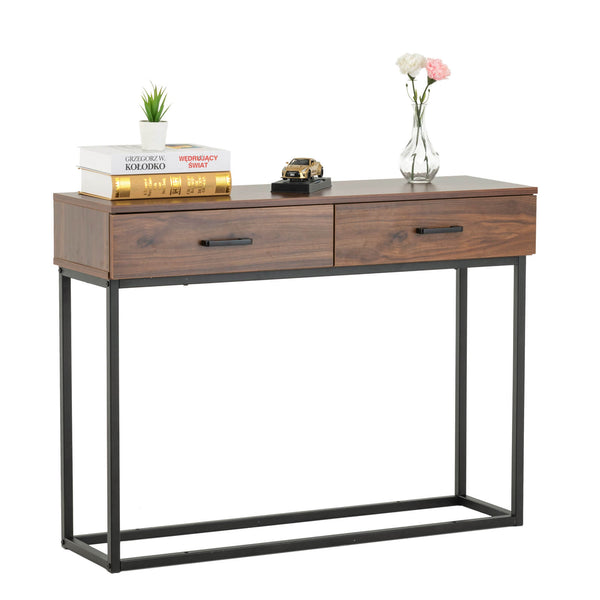 Mecor Industrial Console Table, Entryway Sofa Table with 2 Drawers and Shelf, Accent Storage with Sturdy Metal Frame, for Living Room
