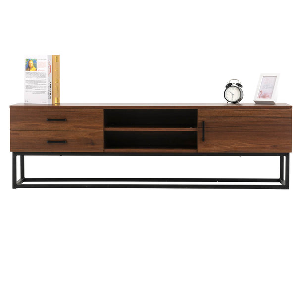 "Mecor Mid Century Modern Wood Universal Stand for TV's up to 65"" Flat Screen Cabinet Door and Shelves Living Room Storage Entertainment Center"