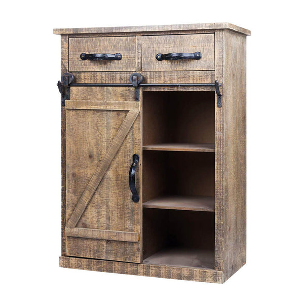 "32""H Rustic Wood End Table Wood Console Cabinet, Farmhouse Wood Storage Cabinet Country Vintage Furniture, Brown"