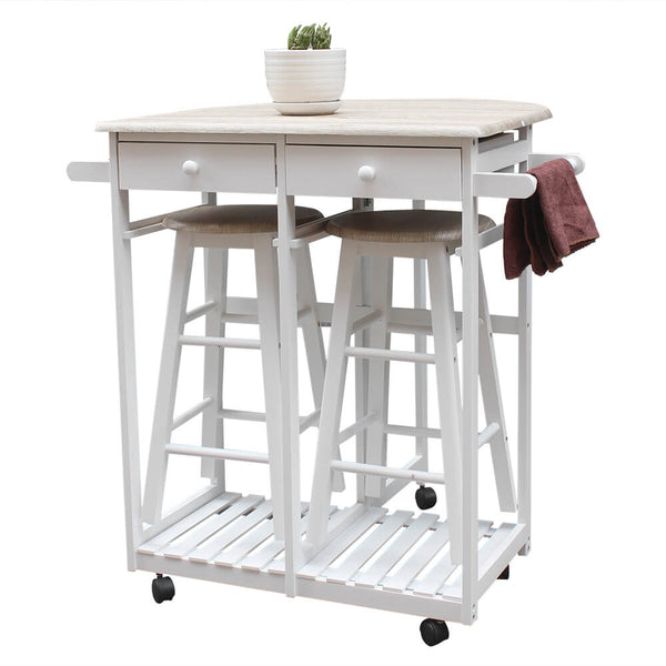 Portable Kitchen Island, Foldable With Wooden Handle Semicircle Dining Cart With Round Stools White