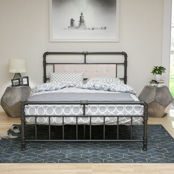 Bed Queen Size Platform Metal Frame, with Vintage Headboard and Footboard,Premium Steel Slat Support, Black