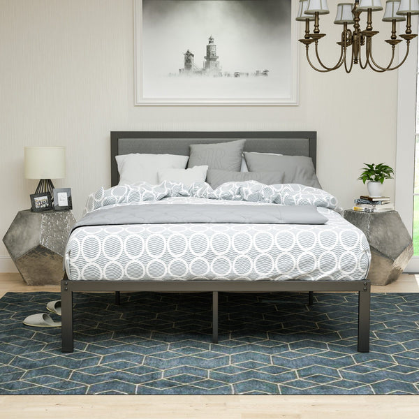 Twin Platform Bed Metal Frame - with Solid Wood Slats Support - Grey Foam Cushioned Upholstered Headboard, 3 Size