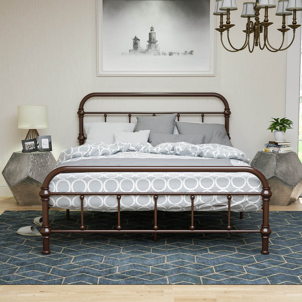 Mecor Platform Metal Frame, with Vintage Headboard and Footboard, Antique Bronze Brown Baking Paint, Premium Steel Slat Support