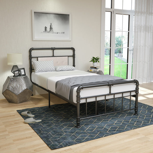 Black Greenforest Single Bed Frame Solid 3ft Metal Beds With Heart Shaped Large Storage Space For Children Adults Furniture Bedroom Furniture