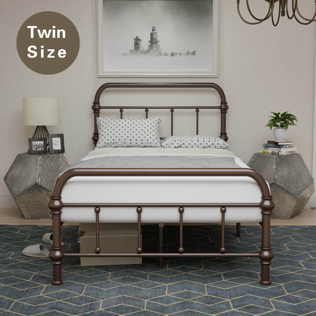 Bed Twin Size Platform Metal Frame With Vintage Headboard And Footboard Antique Bronze Brown Baking Paint Premium Steel Slat Support The Celebrity Bartender