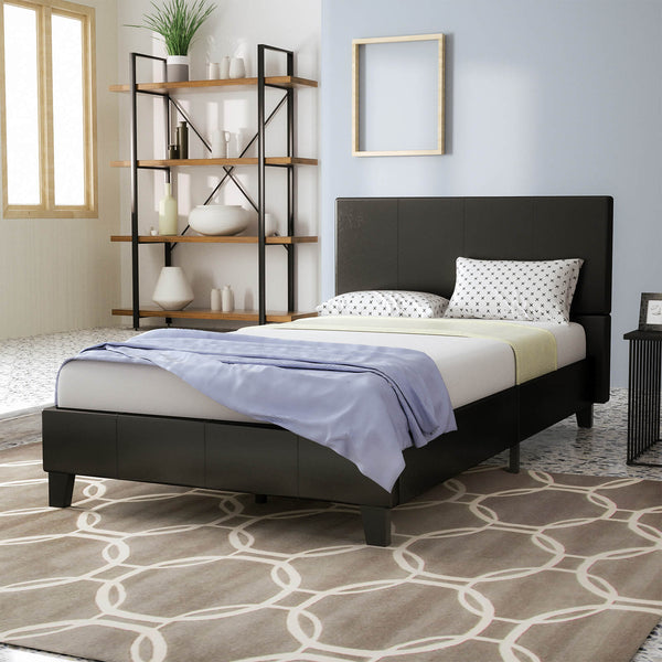Mecor Bed Frame - Faux Leather Upholstered Bonded Platform Bed/Panel Bed-No Box Spring Needed ,Black