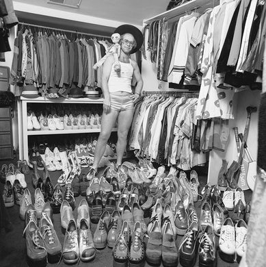 Elton John in his wardrobe