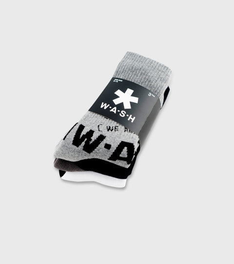 Shades of Grey 3 pack Crew Socks