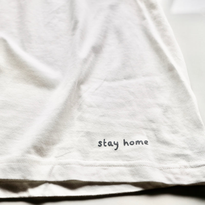 stay home Organic cotton T-shirt ・Natural white