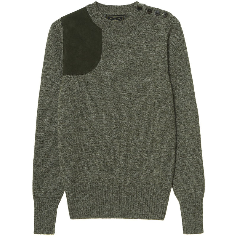 Buttoned Crew Neck Marl Shooting Sweater