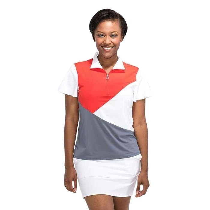 Angles and Curves Shortsleeve Golf Top (Tomato)