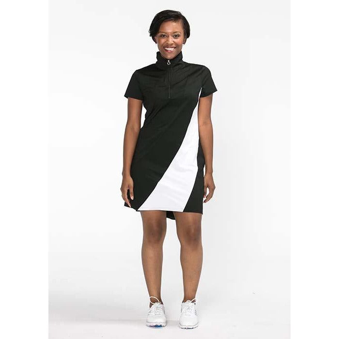 Bold Moves Shortsleeve Golf Dress (Black)