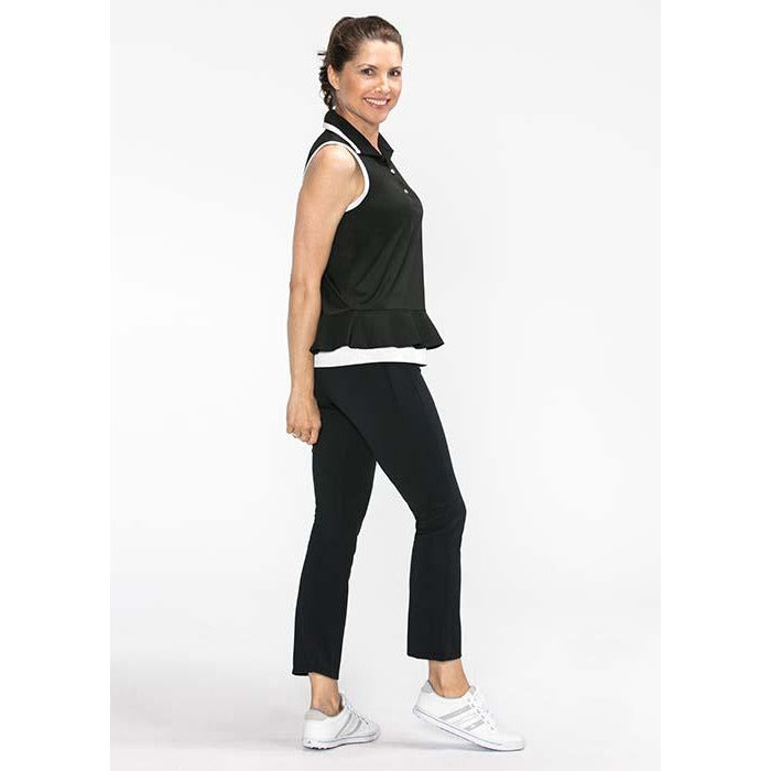 Layered Look Sleeveless Golf Top (Black)