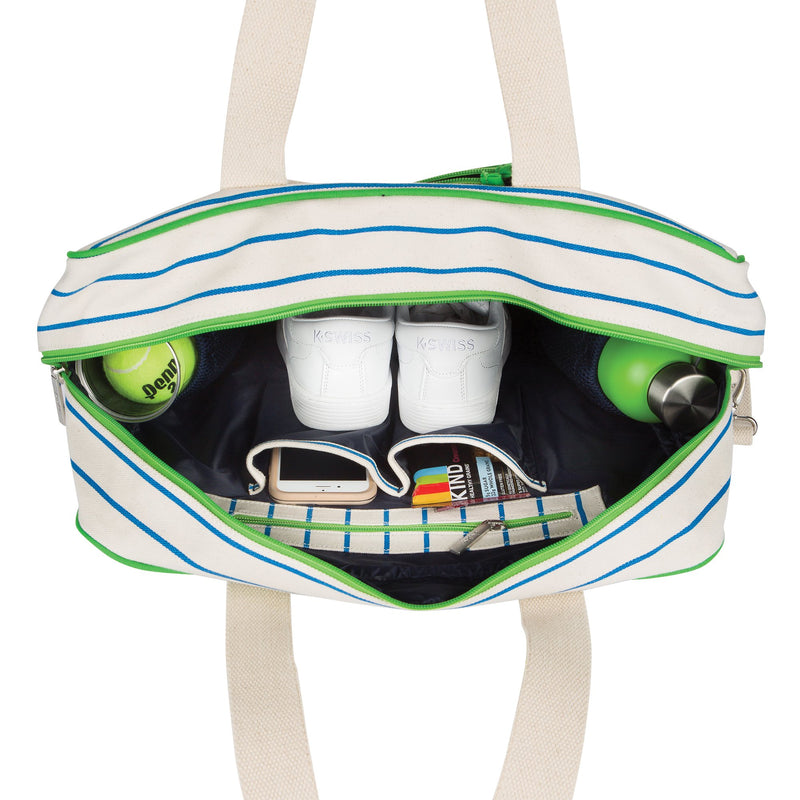 On Tour Tennis Bag (Natural w Green & Blue)