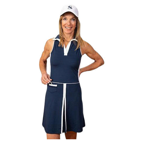 Nancy Sleeveless Golf Dress (Navy)