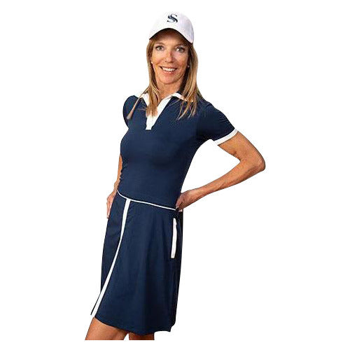 Sheila Short Sleeve Golf Dress (Navy)