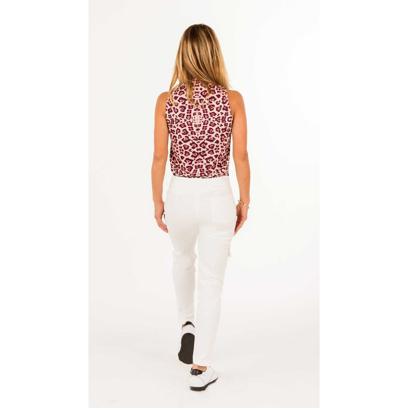 Course-to-Cocktail Sleeveless Petite Top (Leopard Print)