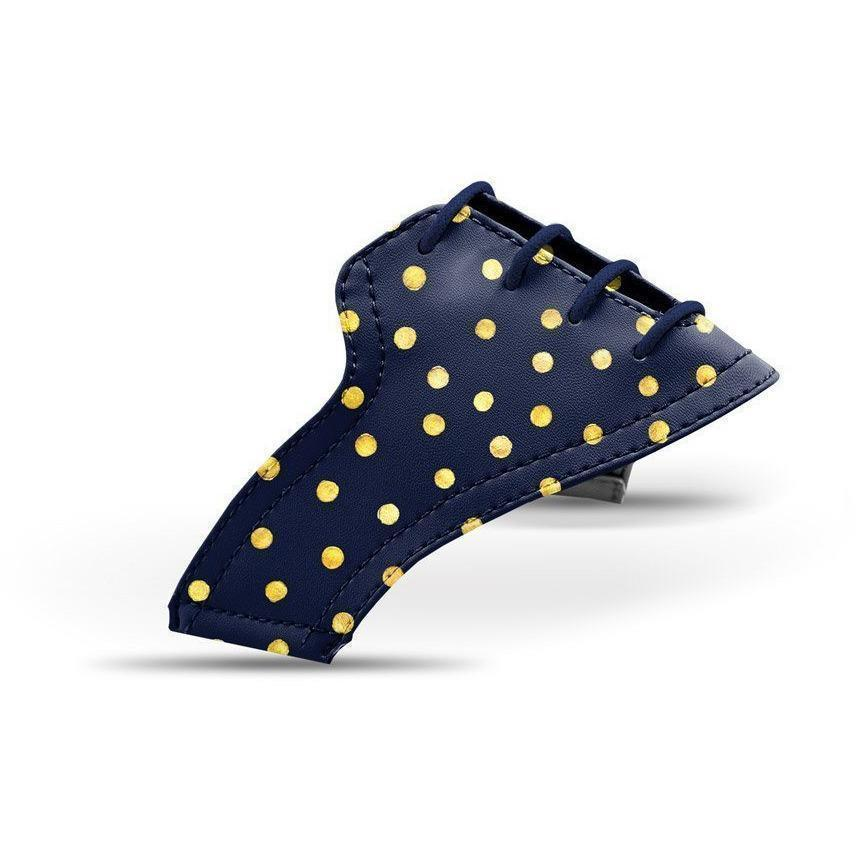 Interchangeable Golf Shoe Saddle (Gold Dots on Navy Saddles & Laces)
