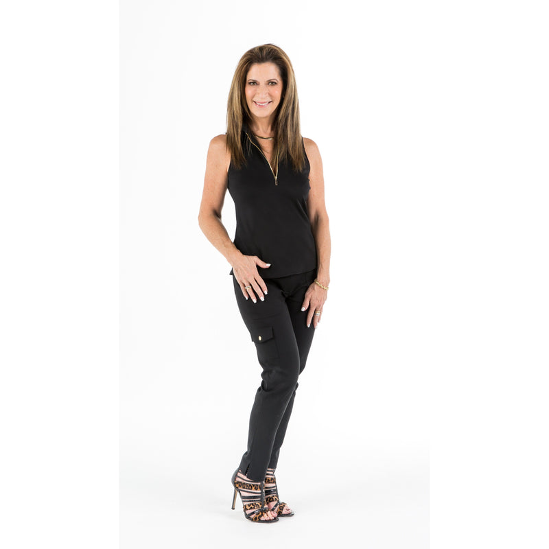 Course-to-Cocktails Sleeveless Petite Top (Black)