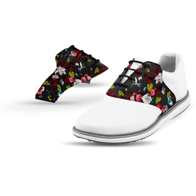 Interchangeable Golf Shoe Saddle (Dark Floral Saddle w White Laces)