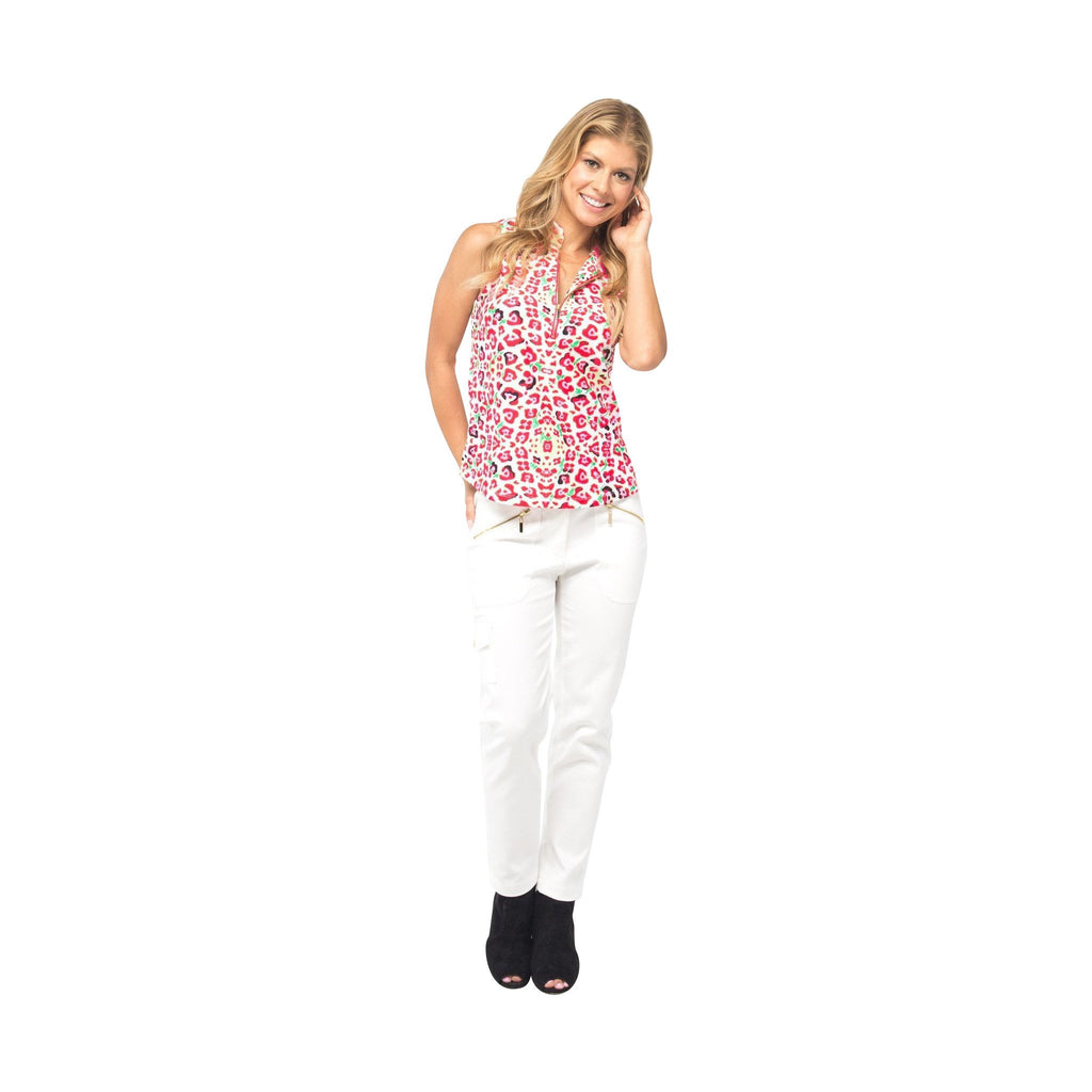 Course-to-Cocktails Sleeveless Petite Top (Pink Leopard)